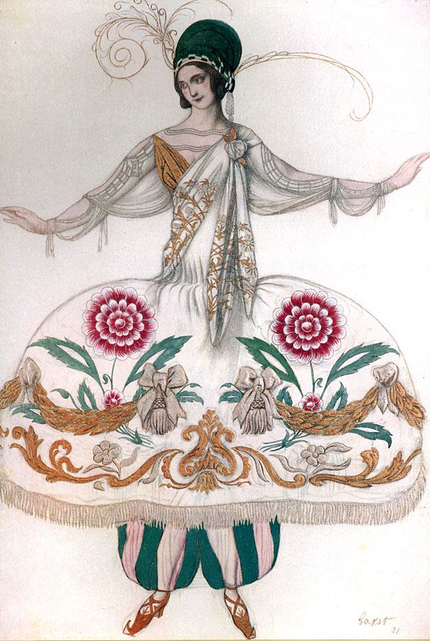 Costume Design by Leon Bakst for Ballet Russe, 1921. 20th century CE, Ballets Russes, Paris, Costume, Scheherazade