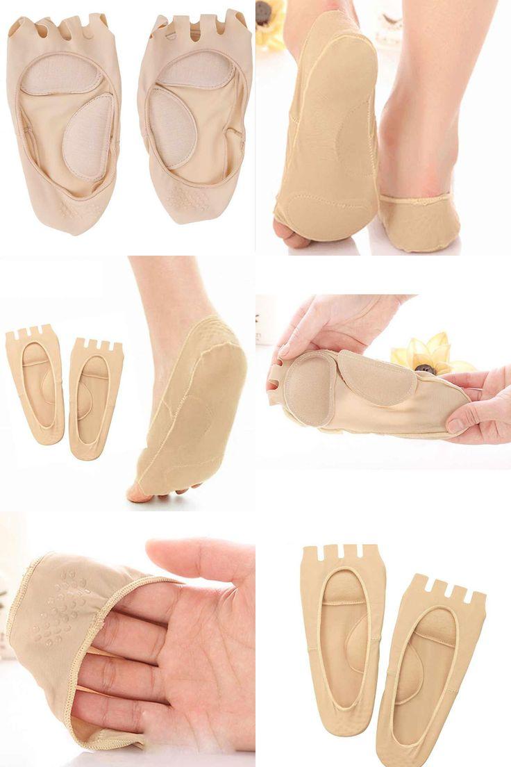[Visit to Buy] 2Pcs=1Pair Foot Massage Five Toes Pedicure Socks Toe Separators Bunion Alignment Socks For Pedicure Device Pro Valgus Corrector #Advertisement
