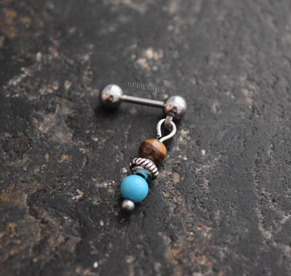 Surgical Steel 14G Turquoise and Howlite Stone Belly Button Ring Externally Threaded