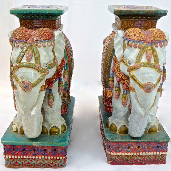 Pair Of Vietnamese Glazed Terracotta Elephant Garden