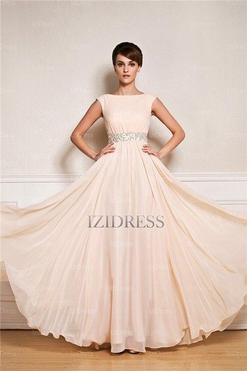 A-Line/Princess Bateau Floor-length Chiffon Evening Dress - IZIDRESS.com
