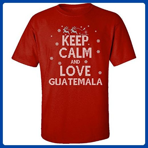 Keep Calm And Love Guatemala Country Ugly Christmas Sweater - Adult Shirt S Red - Cities countries flags shirts (*Amazon Partner-Link)