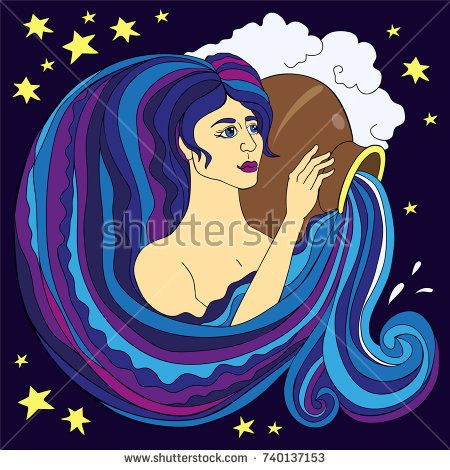 Sign of the zodiac Aquarius drawn in the vector line. The face of a beautiful girl who pours water.