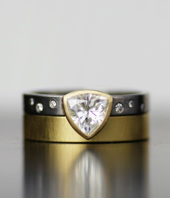 trillion doublet modern engagment ring  wedding band set by lolide
