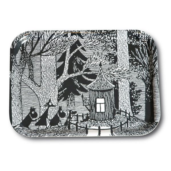 Stylish black and white tray featuring characters from Moominvalley and a cottage in the woods. It's handmade with a classic motif taken from Tove Jansson's original drawings. High quality wood, made in Sweden. Suitable for dishwasher. Guaranteed to bring some style to your dinner table.
