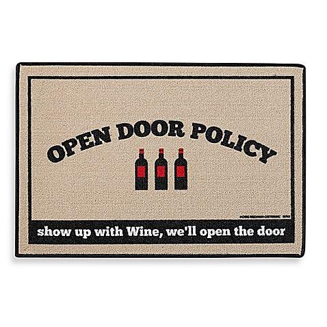 Wine lovers will love the cute Open Door Policy Door Mat.