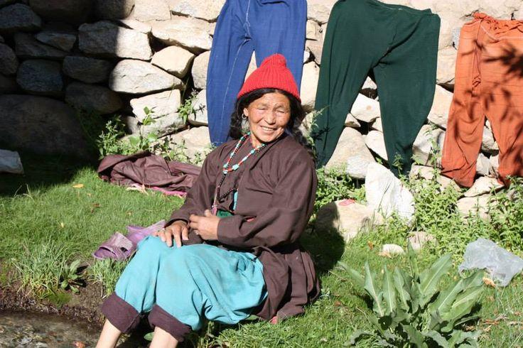 Ladakhi woman washing her clothes #India #Travel #Ladakh