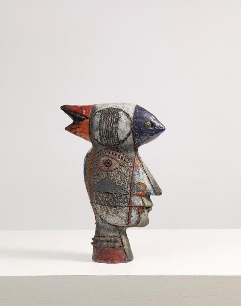 """ROGER CAPRON (1922-2006) - SCULPTURE - PIÈCE UNIQUE - En Raku modelé, visage[circa 2000...], mis en vente lors de la vente """"Arts Décoratifs du XXe siècle"""" à Cornette de Saint Cyr Paris  """