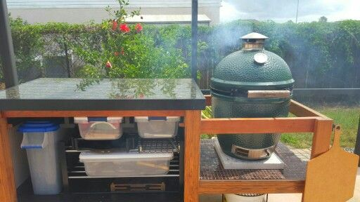 Front view, Granite top, large Egg, drawer storage. #BGE Table.