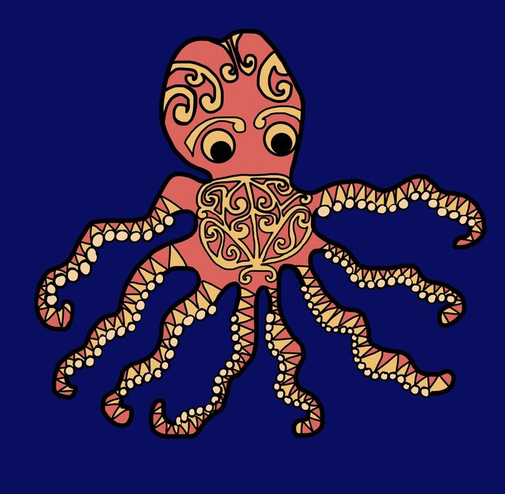 Giant Squid with māori motif