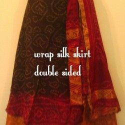Silk Skirt double wrap silk 2 red