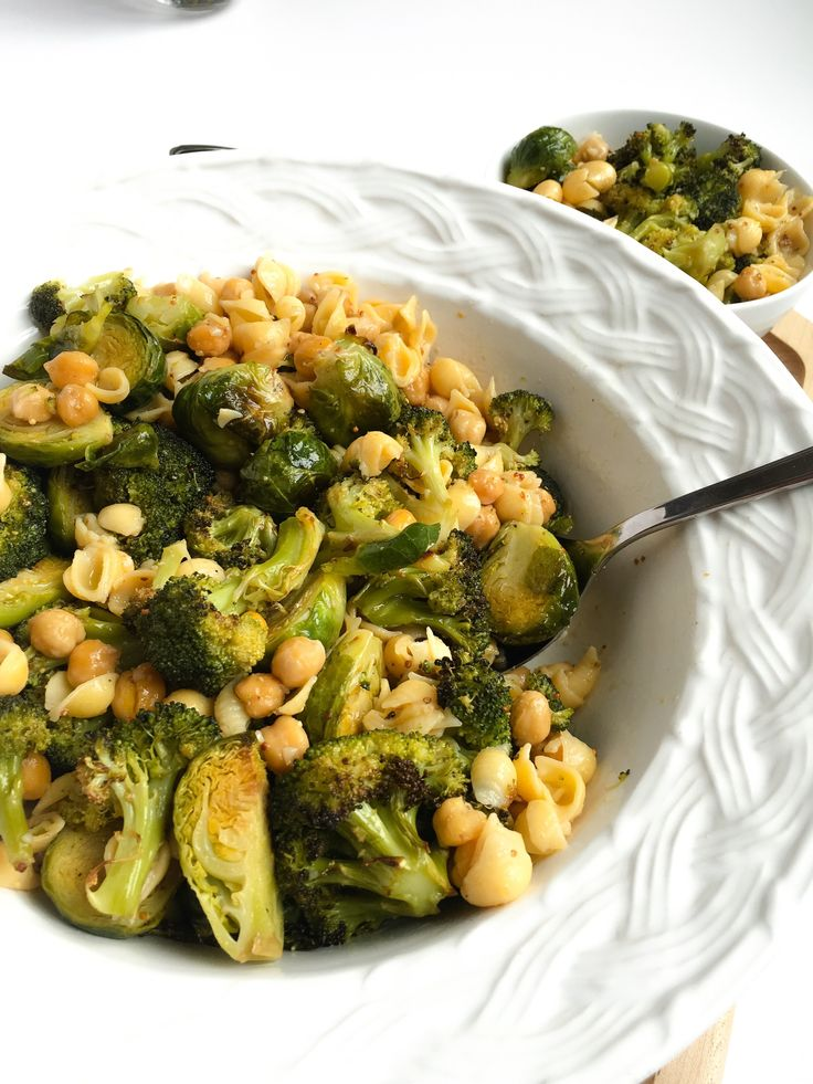 Healthiest Vegan Pasta Salad -- with broccoli, brussels sprouts, chickpeas, and mustard vinaigrette