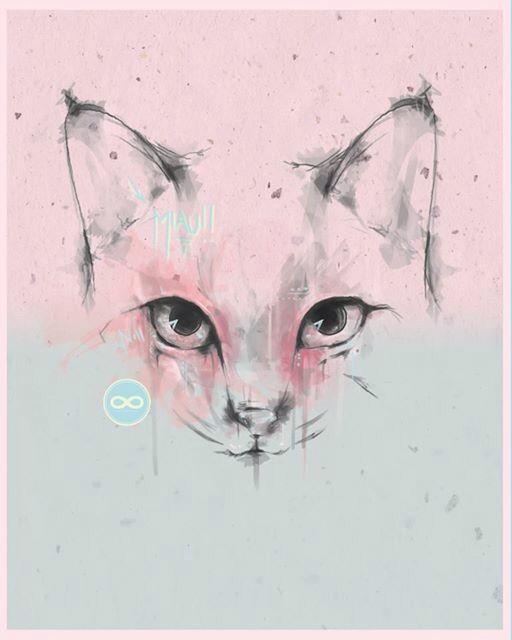 """MIAU Says Lena"" By sbztn www.sbztn.tumblr.com  #illustration #digitalart #graphicdesign #feelinggrafico #cats"