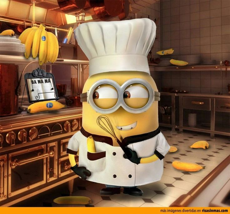 Minion chef! Menu: Bananas!! Brothers and sisters working at Regional Building site love healthy food.