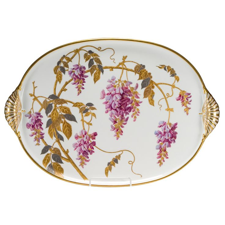 Superb Hand Painted Minton Porcelain Tray | From a unique collection of antique and modern platters and serveware at https://www.1stdibs.com/furniture/dining-entertaining/platters-serveware/