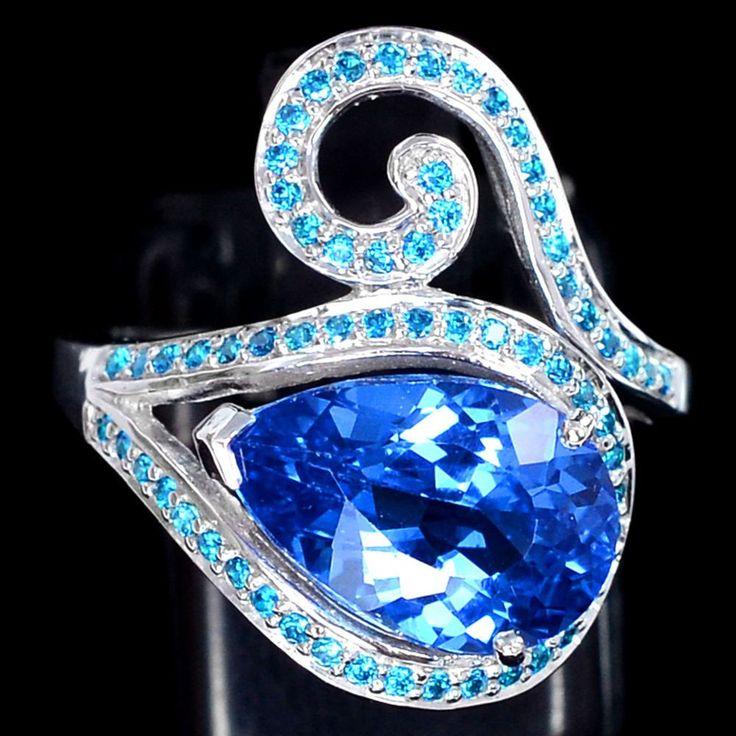 Vintage 3.6CT Pear Cut Swiss Blue Topaz Blue Apatite Halo Ring