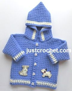 Free baby crochet pattern for boys hooded jacket http://www.justcrochet.com/boys-hooded-jacket-usa.html #justcrochet