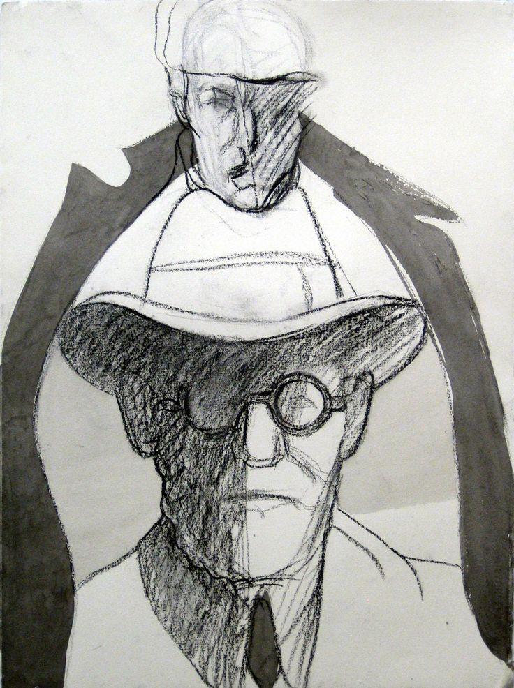 Gästen, Kol och tusch, 76x56cm