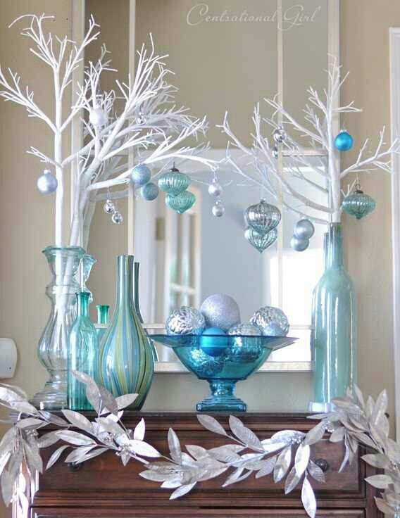 Christmas decoration- love this... White silver and blue!