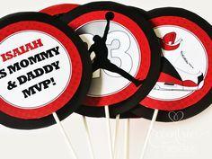 Air Jordan / Jumpman / Chicago Bulls / Michael Jordan   Table Centerpieces  (for A. Jordan Baby ShowerShower ...