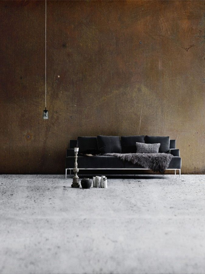 studio 903Naked copper walls, grey velvet and concrete. Quintessential wabi