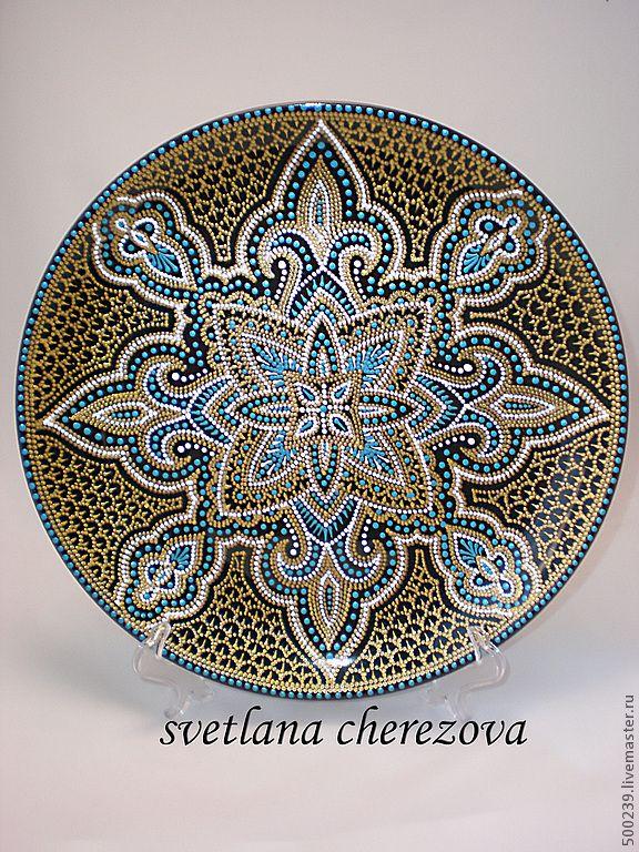 """Купить Декоративная тарелка """"Халва"""" - декоративная тарелка, тарелка сувенирная, роспись контурами, контурная роспись"""