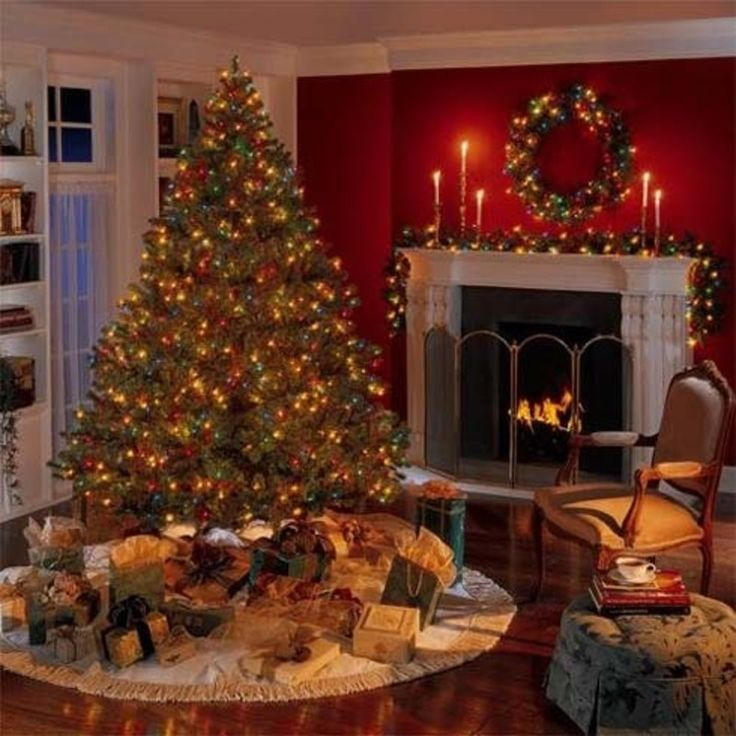 christmas living room design with decorating fireplace light and red wall a very warm space - Homes Decorated For Christmas On The Inside