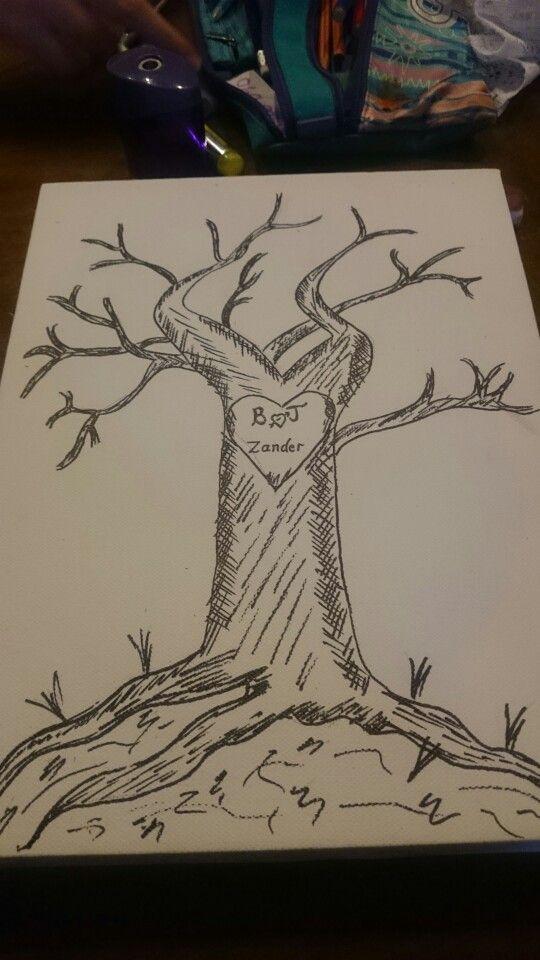 Baby shower finger print tree