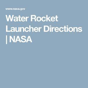 Water Rocket Launcher Directions | NASA