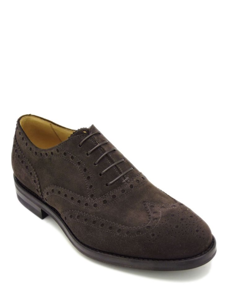 #Laceup #shoe in soft coffee suede leather. Featuring plain upper and leather sole. #Brogue #style detailing with perforated floral design on the toe. Its authentic character makes it ideal for everyday wear with a #casual #style.
