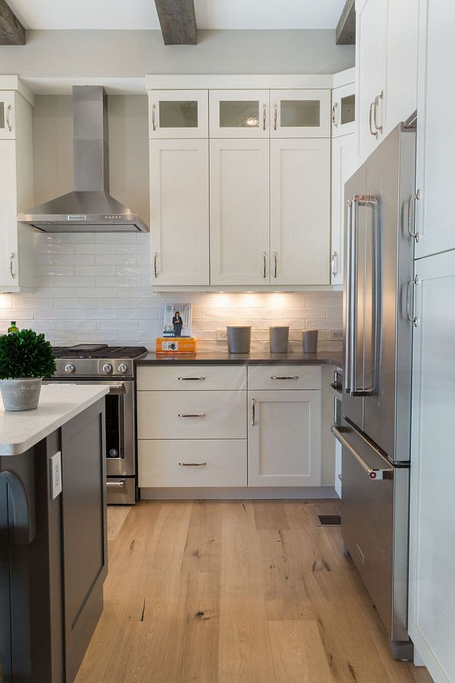 Pantry Cabnets To Right Of Fridge White Shaker Kitchen Cabinets
