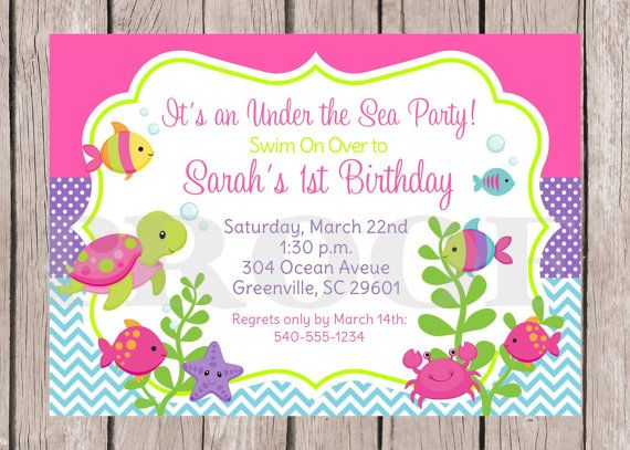 PRINTABLE Under the Sea Birthday Party Invitation / por ciaobambino