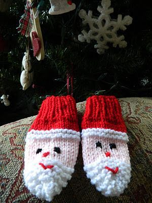 Aren't these the cutest???!!! I knit a pair for Cindylou for her first Christmas 16 years ago.....and ever since then, I hang them on my t...