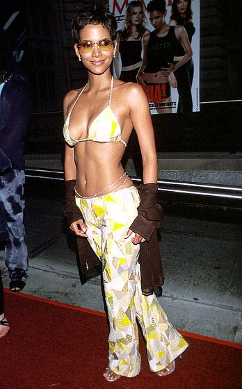 July 12, 2000  Halle Berry At the X-Men premiere in NYC, Berry turned the red carpet into a beachy soiree when she stepped out in a bikini top, body jewelry and shades