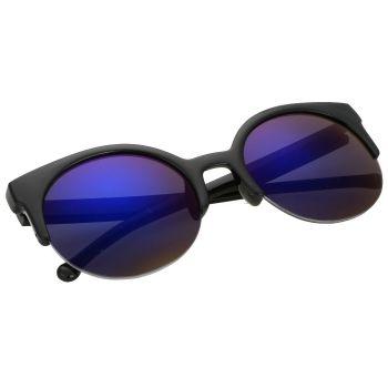 Unisex Retro Designer Super Rodada Círculo Cat Eye Meio Aro Dos óculos De Sol