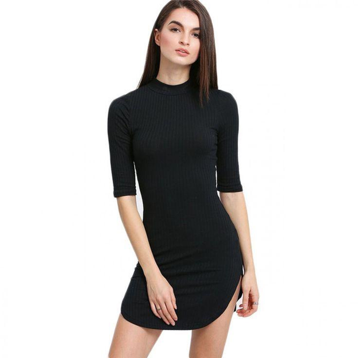 COLROVIE Black Dolphin Hem Half Sleeve Short Sheath Dress Women Basic Autumn Plain Round Neck Bodycon Mini Dress