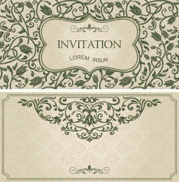 23 best images on pinterest arte grfica convites dark green floral vintage invitation cards vector stopboris Images