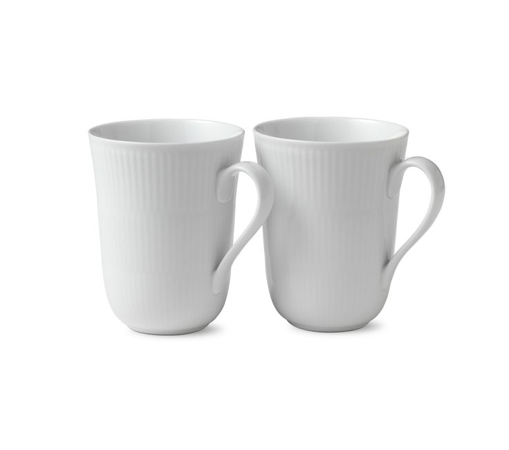 White Fluted Mug, 2-pack