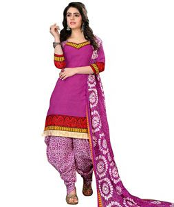 Buy Pink Cotton Unstitched Patiala Salwar Kameez 73256 online at lowest price from huge collection of salwar kameez at Indianclothstore.com.