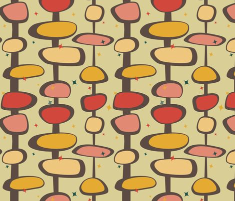 Mid-Century Modern - Bead and Star fabric by studiofibonacci on Spoonflower - custom fabric