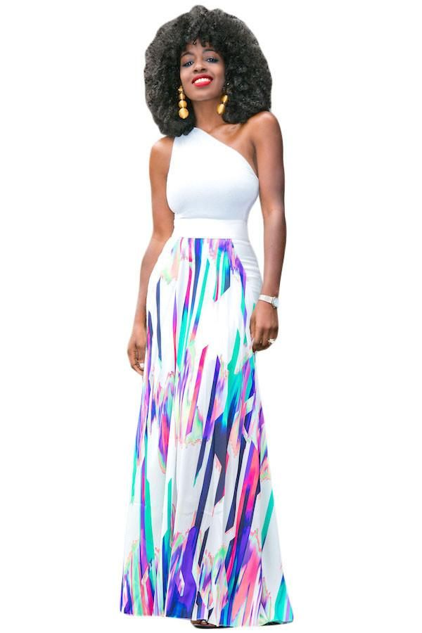 Order the Multicolor Striped Graffiti Flowy Maxi Skirt available in a Size  (US by Victory Roze in our Skirts & Petticoat section, and get FREE SHIP.