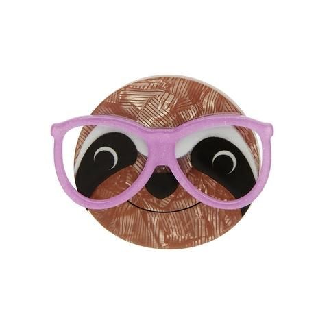 "Erstwilder Limited Edition Sammy the Smart Sloth Brooch. ""The bigger the glasses the smarter the Sloth. Do you know who came up with that Me. just then. """