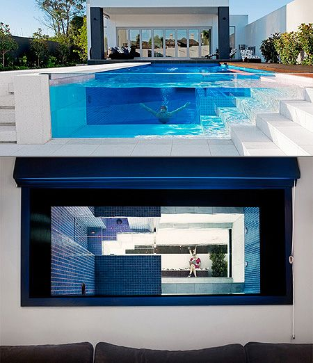 Coolest Backyard Pools Ever : from inside  Architecture  Pool  Glass  Pinterest
