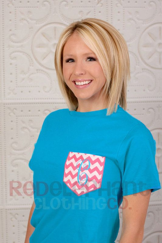 Chevron Pocket Tee for Ladies, Monogram Pocket Shirt for Adults, Chevron Pocket Shirt, Monogram Chevron Tee, Short Long Sleeve, faux pocket by RedElephantClothing on Etsy https://www.etsy.com/listing/130107120/chevron-pocket-tee-for-ladies-monogram