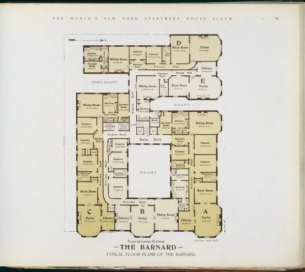10 elaborate floor plans from pre wwi nyc apartments for Luxury apartment floor plans nyc