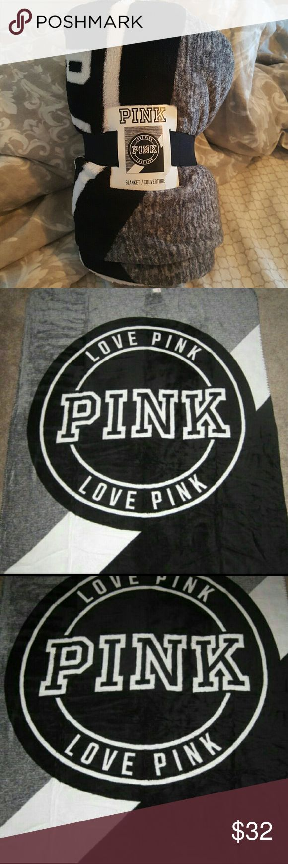 VICTORIA'S SECRET 100%POLYESTER BLANKET Never used Never opened Half gray Whites stripe in the middle with the PINK logo Half black  100% polyester  50in X 60in PINK Victoria's Secret Other