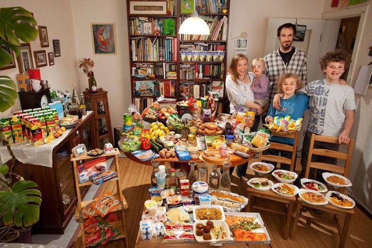 Germany: The Sturm Family of Hamburg.   Food Expenditure for One Week: € 253.29 ($325.81 USD). Favorite foods: salads, shrimp, buttered vegetables, sweet rice with cinnamon and sugar, pasta.