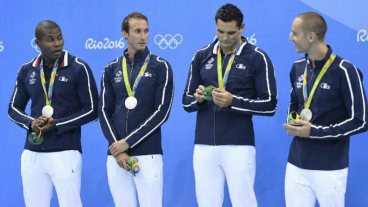 Relais natation 4x100m. Mehdy Metella, Fabien Gilot, Florent Manaudou et Jérémy Stravius 2016