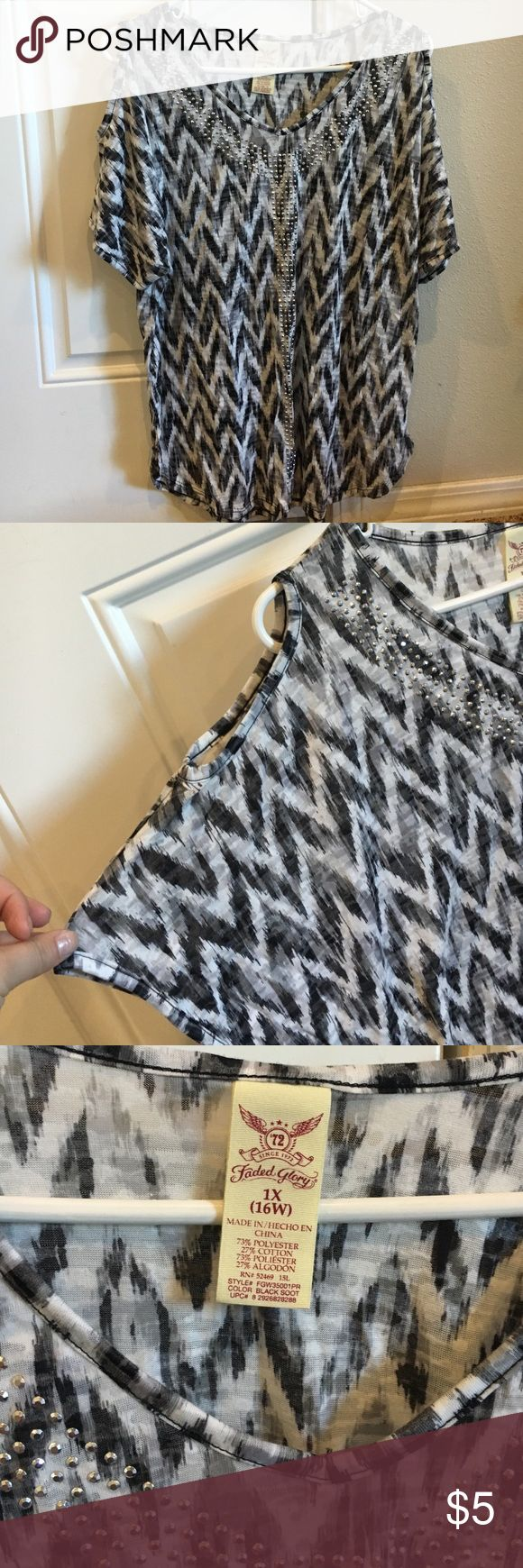 Chevron blouse Black and white chevron blouse. With rhinestones. Short sleeve with shoulder cut outs. Faded Glory Tops Blouses