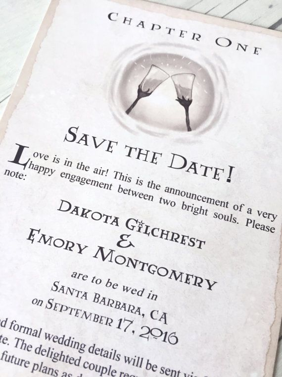 harry potter save the date book wedding chapter invite digital invitations geeky wedding custom wedding invite - Harry Potter Wedding Invitations